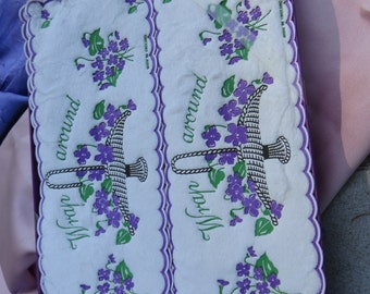 Pretty Vintage Paper Wrap Around Napkins with Purple Violet Flowers from England