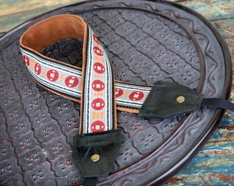 Gray and Red Tribal Leather and Suede Camera Strap