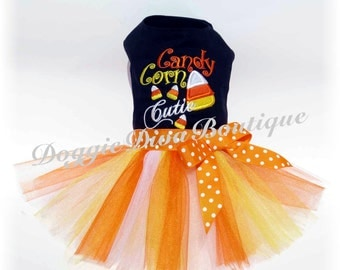 Dog Tutu Dress - Candy Corn Cutie - XS, Small or Medium