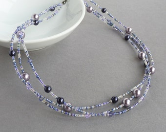 Soft Purple Pearl Necklace - Lilac and Dark Purple Necklaces - Twisted Lavender Pearl Wedding Jewellery - Grape Bridesmaids Gifts