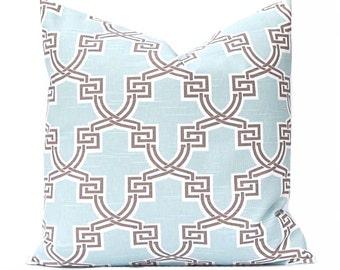 Euro Shams Pillows, Decorative Throw Pillow Cover Home Decor Aqua and Brown Cushion Cover Toss Pillow One All Sizes Trellis Pillow