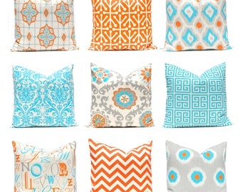 Orange Turquoise Pillows, 12 x 16 OR 12 x 18 Inches, Decorative Throw Pillow Cover, Orange and Turquoise, Chevron Pillows Greek Key Pillows
