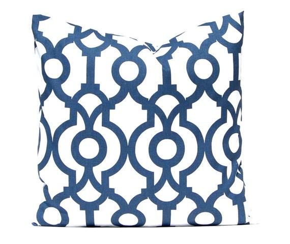 Items similar to Navy Blue Pillow, Modern Trellis Throw Pillow Cover, Decorative Pillow Cover ...