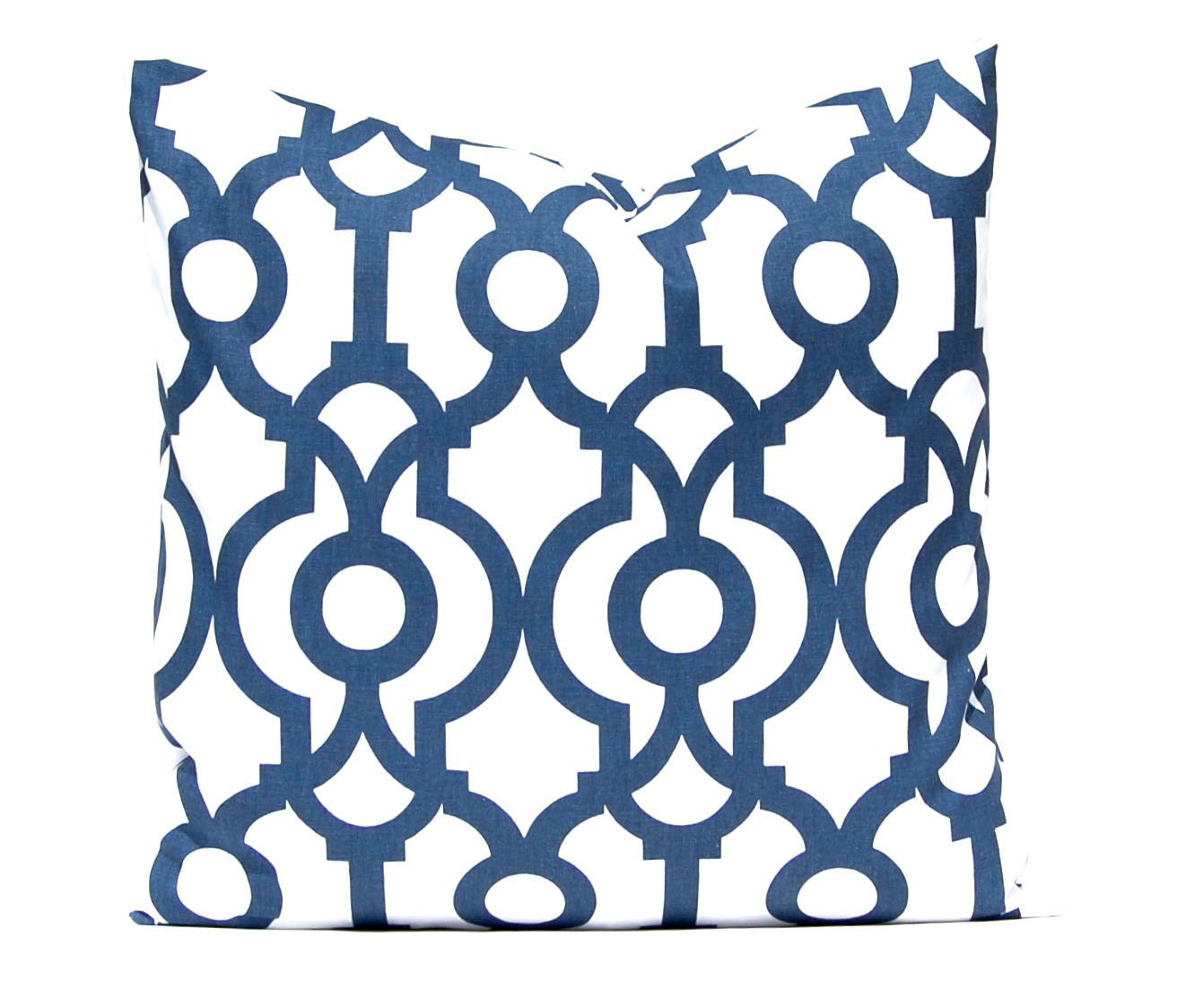 Navy Blue Pillow Modern Trellis Throw Pillow by CompanyTwentySix