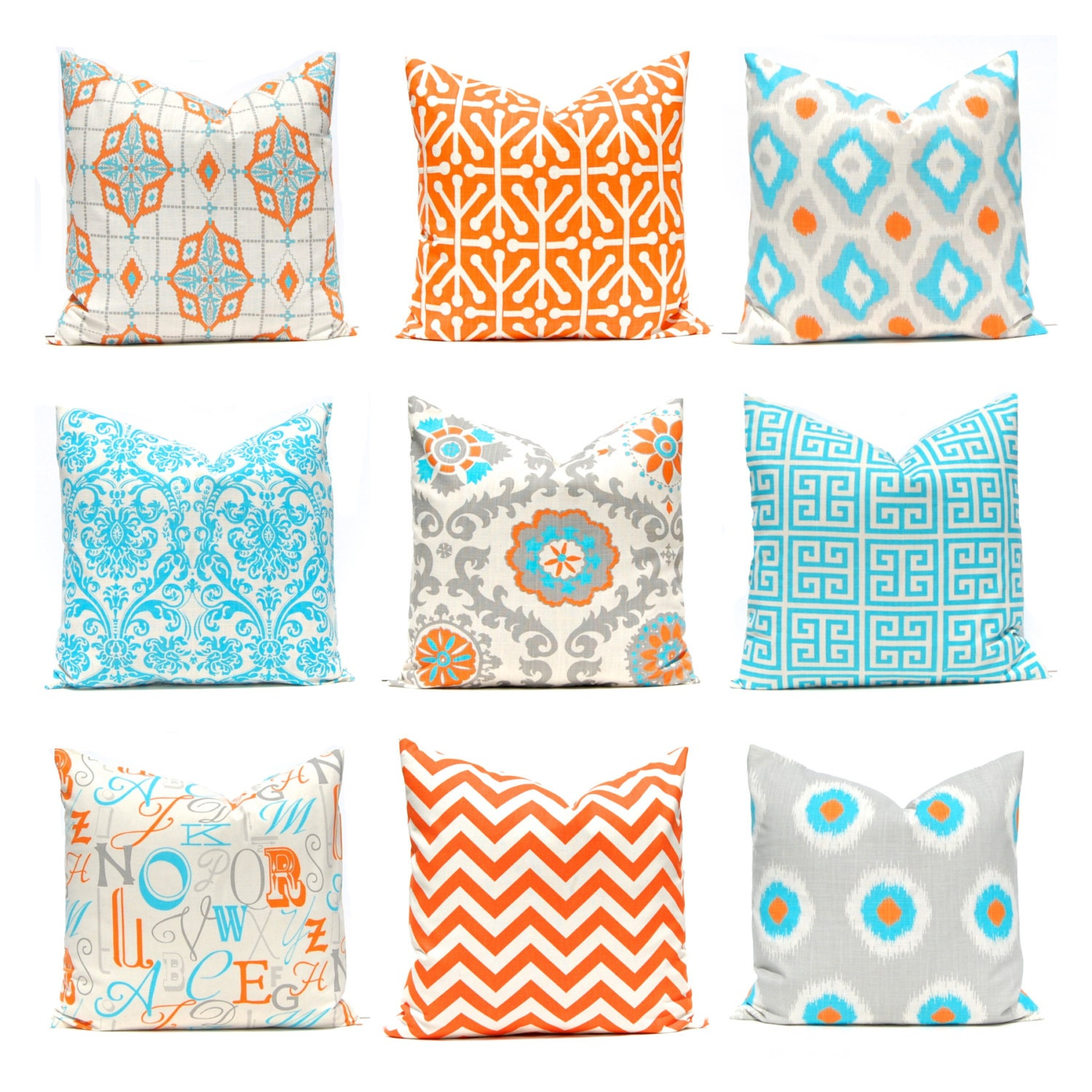 orange turquoise pillows 12 x 16 or 12 x 18 by festivehomedecor. Black Bedroom Furniture Sets. Home Design Ideas