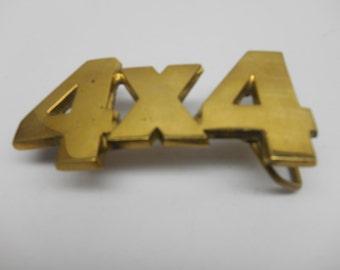 Vintage  4x4 Brass Belt Buckle
