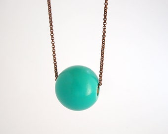 Turquoise wooden necklace, geometric single bead jewelry, eco friendly jewelry, large bead necklace, copper chain necklace, minimal jewelry