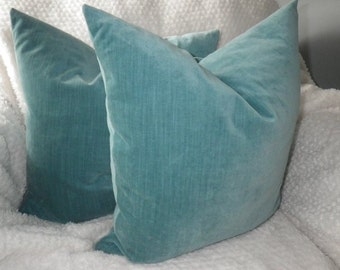 Aqua Velvet Fabric, Two 18x18 Pillow Covers, more sizes available, by Sew Custom Designs