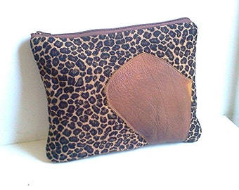 Oversized Leather and Animal Print Clutch Purse, Upholstery Fabric Purse, iPad Case, Chenille Clutch