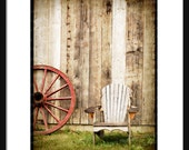 Red Wagon wheel with adirondack chair at the old barn, Photography, art print, print your own, instant download