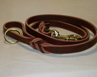 Latigo Leather Leash - 5 foot model With Handle Ring