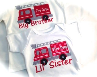 Boy / Girl Short Sleeve Shirt or Onesie Half Fire Hose applique  choose one more applique to placed on shirt with name