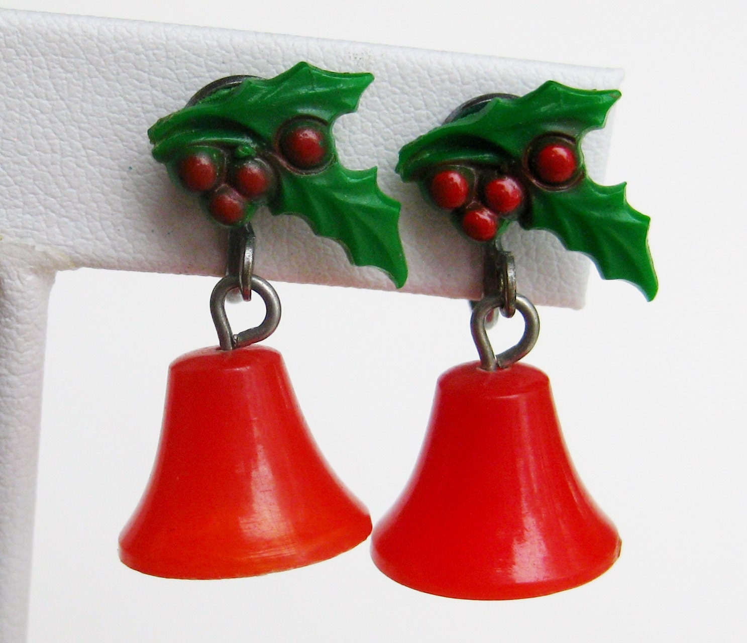 Vintage s red plastic ring those christmas bells novelty