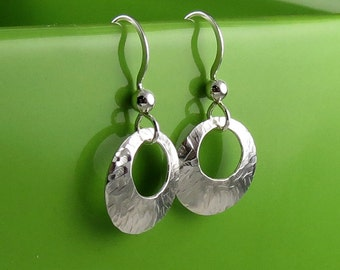Petite Modern Round Textured Silver Earrings