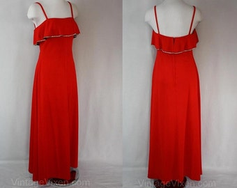 Size 10 Lolita 1970s Cherry Red Evening Dress with Rhinestone Trim - Strappy 70s Formal Prom Gown - Bandeau Neckline - Bust 35.5 - 36555