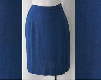Size 4 Blue Skirt - 1950s Cobalt Linen Straight Skirt - Small Vivid Summer Office Skirt - Tailored 50s Secretary Style - Waist 24.5 - 37859
