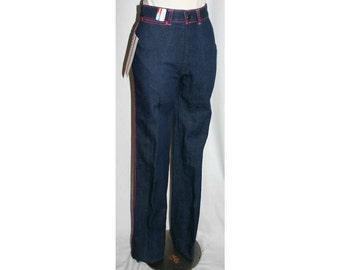 Size 2 Blue Jeans - Retro 1970s Dark Denim Skinny Jean with Hot Pink Arrow Motif - XXS 70s Faded Glory Pants - Waist 25.5 - NWT - 32657-4