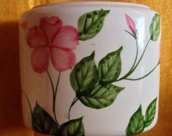 Ceramic Toothbrush Holder  with Beautiful Pink Flowers and Green Accents