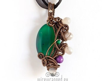 OOAK Green grey and purple agate wire wrapped pendant