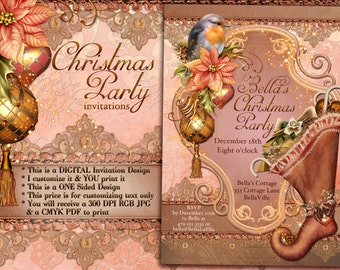 Christmas Party Invitations,  Victorian Christmas Party, Victorian Holiday Party