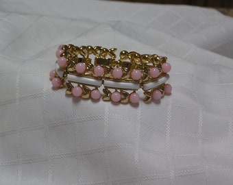 Vintage Crown Trifari pink glass buds flowers white glass links bracelet