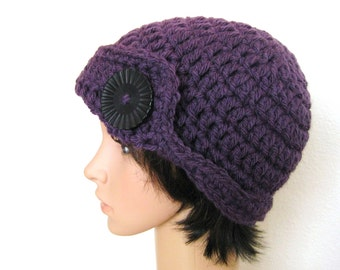 Crocheted Women's Beanie-Eggplant with Button - Crocheted Purple Hat - Crochet Beanie - Crochet Beanie with Button - Eggplant Beanie
