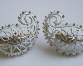 Vendome White Enamel and Gold Paisley Earrings