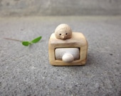 Wood carving miniature drawer with little hedgehog Woodworking Unique gift Wood sculpture Personalized