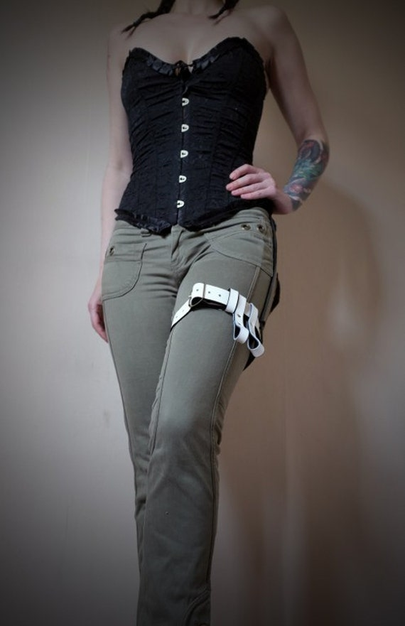 leather garter belt white steunk burning