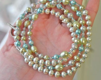 Aqua, Lime and Ivory Freshwater Pearl Long Necklace with Swarovski Crystals Handmade in Maine by Kimberly