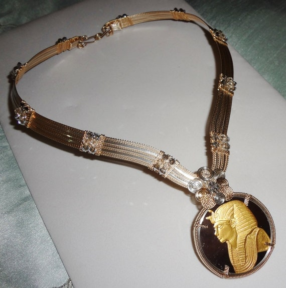 """Mask of Tutankhamun Silver and Gold Coin, 14kt gold and Argentium Silver Necklace 21"""" RARE OOAK"""