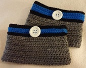 Silver Gray, Royal Blue and Black Crocheted Boot Cuffs With a Large White Button - Great for Detroit Lions Fans