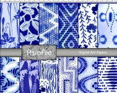 Digital Premade Scrapbook Pages - 12 X 12 Sheets - 12 Designs - Indigo Blue - Japanese - Backgrounds - Blue and White - A 1
