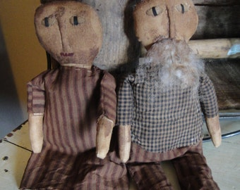 Uncle Sam and Libby dolls extreme primitive handmade