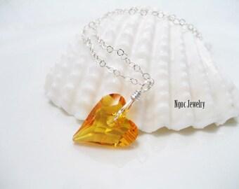 Swarovski Wild Heart Necklace, Dainty Elegant Sparkly Heart Necklace, Sterling Silver, Valentine's Gift, Minimalist Necklace, Love Necklace
