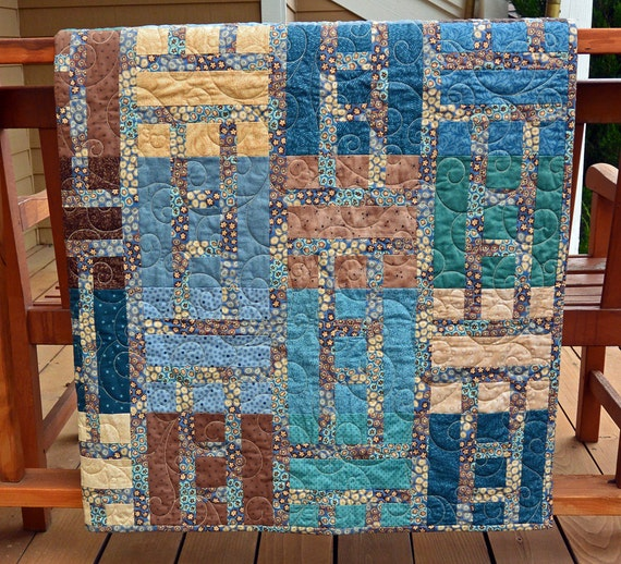 Handmade Modern Quilt in Blues and Browns