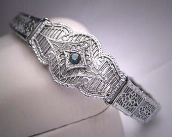Antique Sapphire Filigree Bracelet Rhodium Art Deco 20s