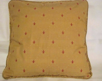 French Country Romantic Cottage Pillow Paris Bistro Yellow Gold Red Fleur De Lis