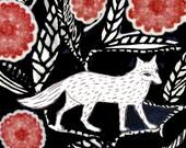 White Fox Ceramic Tile, clay wall art,  6x6 ceramic tile