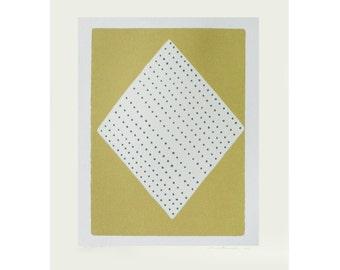 Contemporary original screenprint in golden yellow ochre, cream and grey. Simple, modern art.