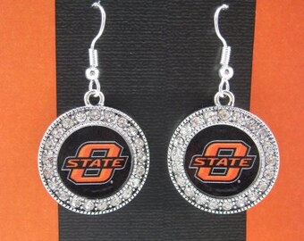 Oklahoma State Cowboys Round Dangle Earrings