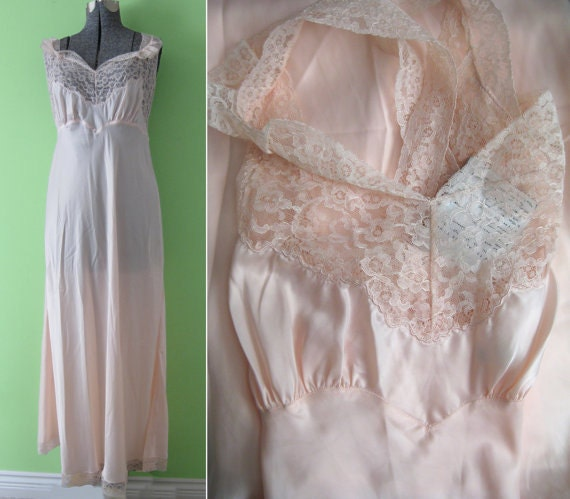 RESERVE LISTING  - NWT Vintage 40s Barbizon Nylon Rayon Full Slip Nightgown  Shipping