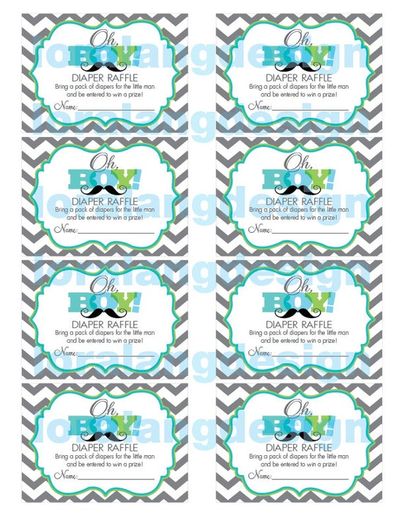 digital printable little man baby shower diaper raffle cards by