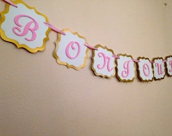 Bonjour Bebe banner - ideal for baby shower - boy or girl - parisian baby shower - fete - french theme party