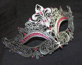 Pink and Silver Masquerade Mask