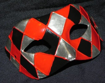 Masquerade Mask with Red, Black and Silver Harlequin Design