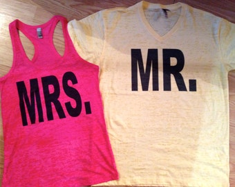 Mrs and Mr T-shirts. Bride and Groom T-shirts. Honeymoon T-shirt package. Bridal T-shirt. Groom T-shirt. Wedding T-shirt Package. Mr and Mrs