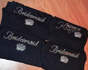 Seashells Bridesmaid Tank Top. Shells Bride t-shirt. Destination Wedding Party Tees. Gift for the Beach Bridal Party. Aqua, Navy Blue,Red