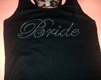 Bride Shirt . Bride half lace tanktop . Bridesmaid t-shirts . Bridesmaid lace and rhinestone tanks - aqua , purple, light pink, hot pink