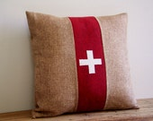 """brown burlap swiss cross pillow cover / 16"""" x 16""""  / red / rustic / accent pillow / fall home decor / autumn"""
